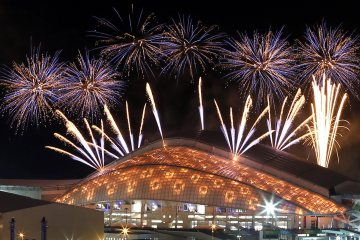 Fireworks are seen over the Fisht Olympic Stadium at the Olympic Park during the rehearsal of the opening ceremony in Sochi