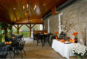 The heated deck of the Ancaster Mill's historic 1812 Room