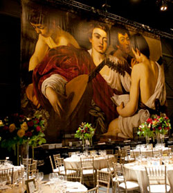 De Luca Fine Art Gallery provided the oversized Caravaggio's The Musicians for the recent Venetian Ball