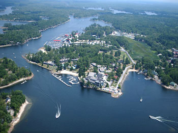 Aerial view of Delawana Inn Conference Resort located at the southern gateway to the Muskokas