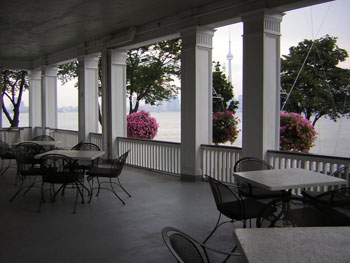 The Royal Canadian Yacht Club's ballroom's north verandah view