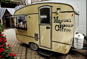 Manual Labour Coffee's mobile cafe is distinctive looking