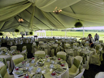 Expansive lawn space by the pond accommodates tented events at Sue-Ann Estates Winery