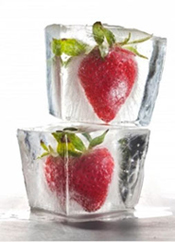 Ice cubed fruit infuses flavour