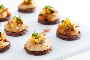 Presidential Gourmet has lots of creative ideas when it comes to catering dietary requests such as a gluten-free, vegetarian Texmex shrimp