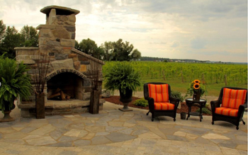 Enjoy the fireplace terrace at Holland Marsh Wineries