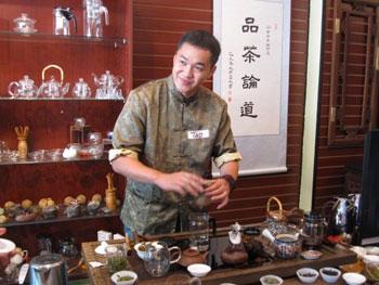 Tao Tea Leaf owner Tao Wu preparing tea