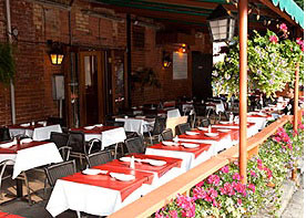 Dine on Peruvian dishes on the patio at The Boulevard Café