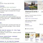 Stardust Events in Google Search Engine Results Page